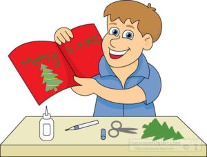 boy making greeting christmas card clipart