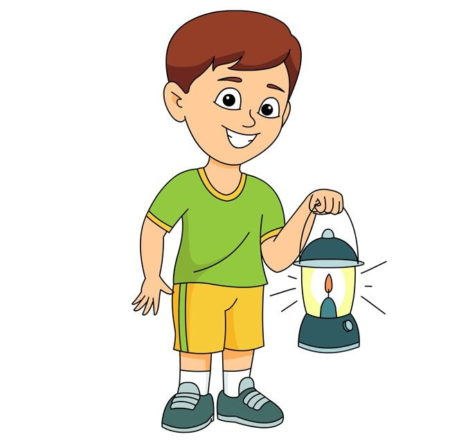 holding a brightly lit lantern clipart
