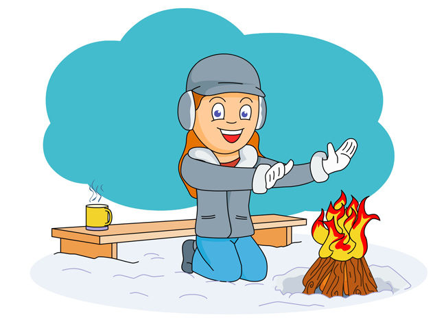 Building a Fire in the snow clipart